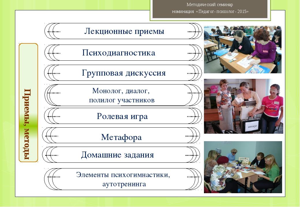 Приемы, методы Методический семинар номинация «Педагог- психолог- 2015» Психо...