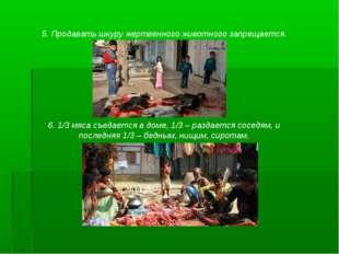 5. Продавать шкуру жертвенного животного запрещается. 6. 1/3 мяса съедается в
