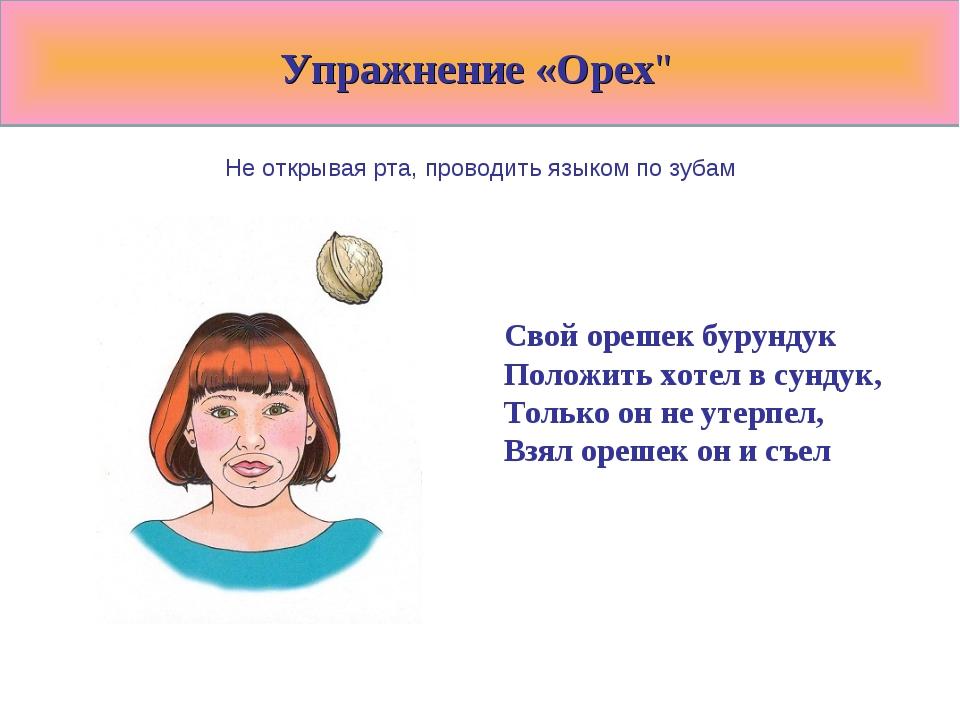 """Упражнение «Орех"""" Не открывая рта, проводить языком по зубам Свой орешек бур..."""