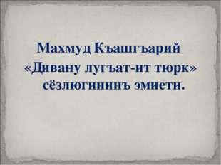 Махмуд Къашгъарий «Дивану лугъат-ит тюрк» сёзлюгининъ эмиети.