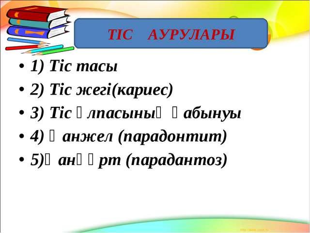 1) Тіс тасы 2) Тіс жегі(кариес) 3) Тіс ұлпасының қабынуы 4) Қанжел (парадонти...