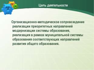 Цель деятельности Организационно-методическое сопровождение реализации приори