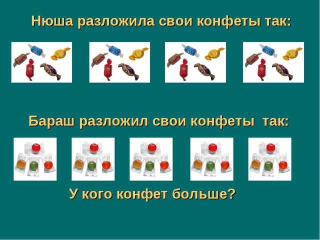 Бараш разложил свои конфеты так: Нюша разложила свои конфеты так: У кого конф...