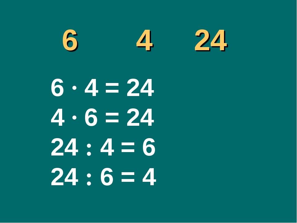 6 4 24 6 ∙ 4 = 24 4 ∙ 6 = 24 24 : 4 = 6 24 : 6 = 4