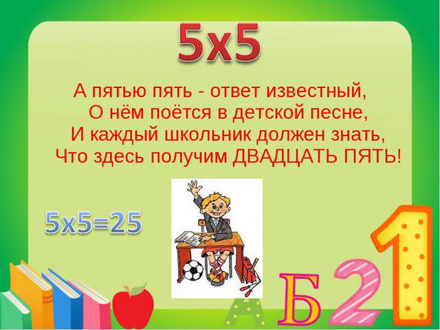А пятью пять - ответ известный, О нём поётся в детской песне, И каждый школьн...