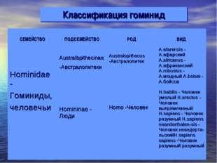 Классификация гоминид СЕМЕЙСТВО ПОДСЕМЕЙСТВО РОД ВИД Hominidae - Гоминиды,