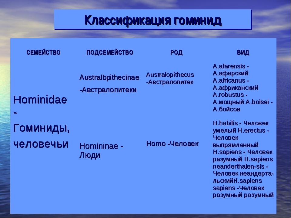 Классификация гоминид СЕМЕЙСТВО ПОДСЕМЕЙСТВО РОД ВИД Hominidae - Гоминиды,...