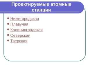 Проектируемые атомные станции Нижегородская Плавучая Калининградская Северска