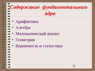 Содержаниефундаментальногоядра Арифметика Алгебра Математический анализ