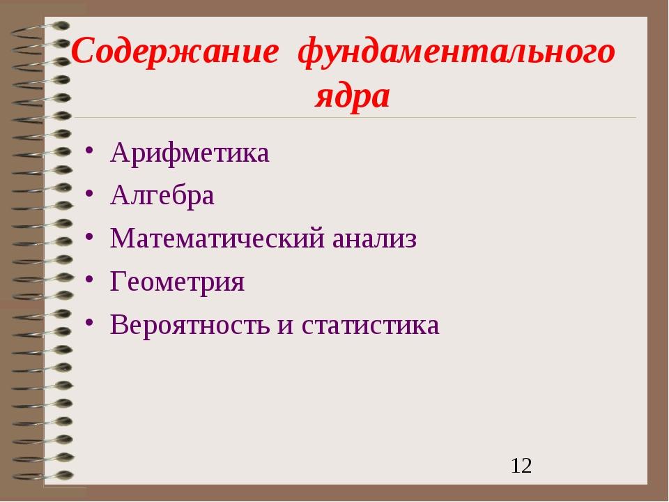 Содержаниефундаментальногоядра Арифметика Алгебра Математический анализ...