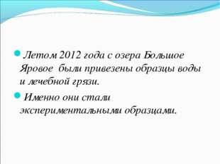 Летом 2012 года с озера Большое Яровое были привезены образцы воды и лечебной