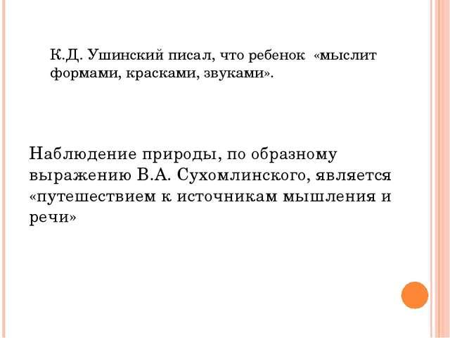 Наблюдение природы, по образному выражению В.А. Сухомлинского, является «путе...