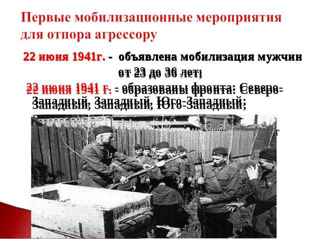 22 июня 1941г. - объявлена мобилизация мужчин от 23 до 36 лет; 22 июня 1941 г...