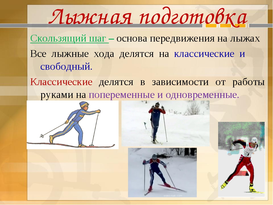 Лыжная подготовка Скользящий шаг – основа передвижения на лыжах Все лыжные хо...
