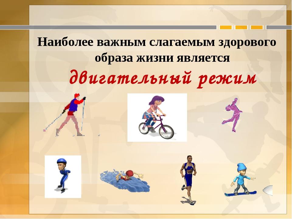 Наиболее важным слагаемым здорового образа жизни является двигательный режим