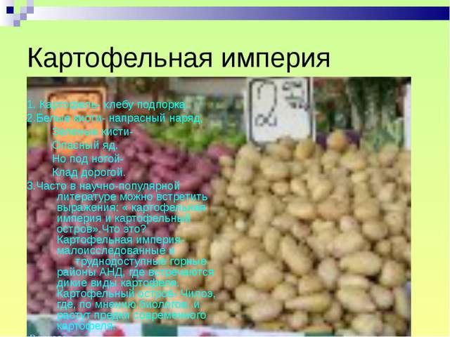 Картофельная империя 1. Картофель- хлебу подпорка. 2.Белые кисти- напрасный н...