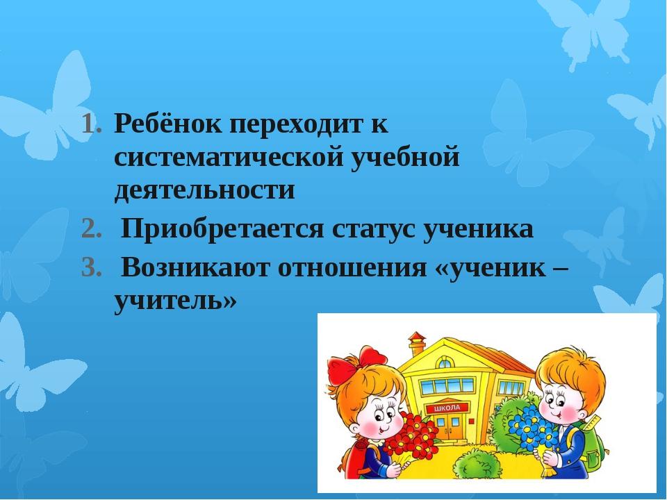 Ребёнок переходит к систематической учебной деятельности Приобретается стату...