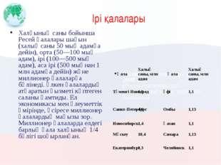 Ірі қалалары Халқының саны бойынша Ресей қалалары шағын (халық саны 50 мың ад