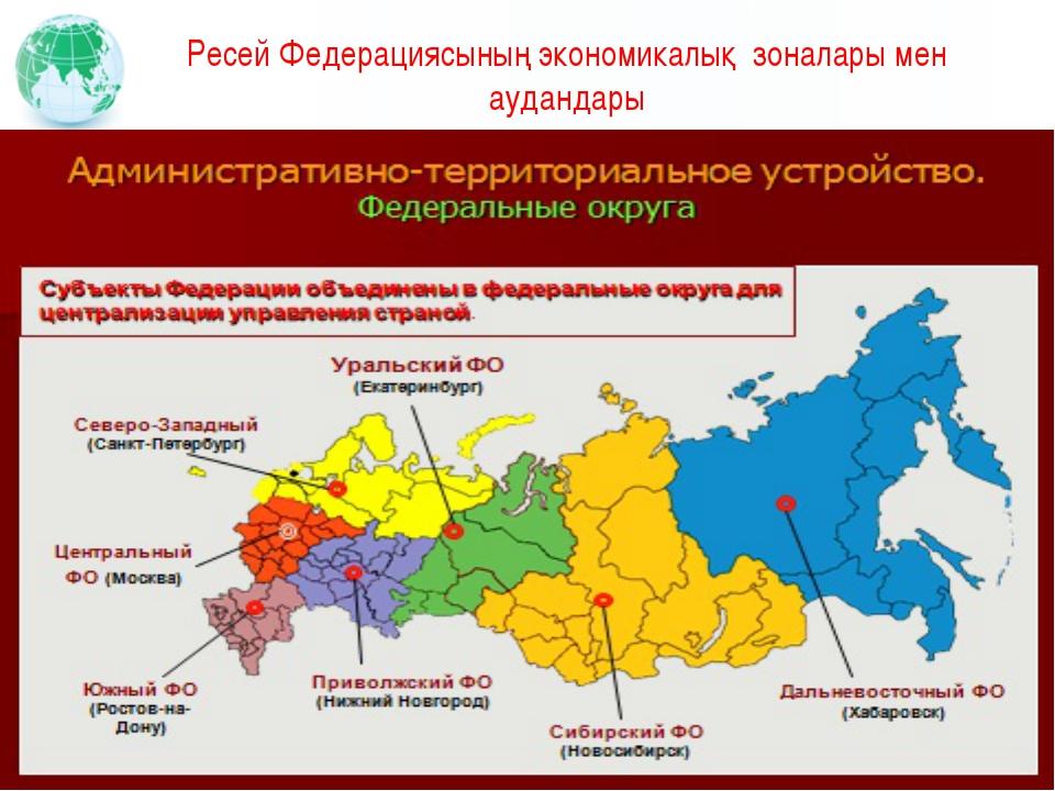 Ресей Федерациясының экономикалық зоналары мен аудандары Вставьте картинку, и...