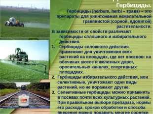 Объект исследования: Гербициды. Гербициды (herbum, herbi – трава) – это препа