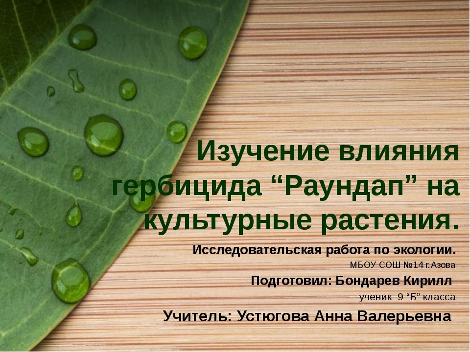 """Изучение влияния гербицида """"Раундап"""" на культурные растения. Исследовательска..."""
