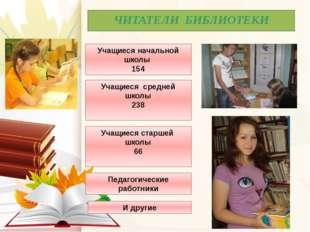 ЧИТАТЕЛИ БИБЛИОТЕКИ Учащиеся начальной школы 154 Учащиеся средней школы 238