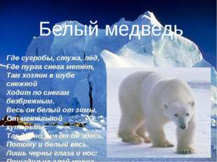 Где сугробы, стужа, лёд, Где пурга снега метёт, Там хозяин в шубе снежной Ход