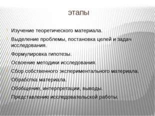 этапы Изучение теоретического материала. Выделение проблемы, постановка целей