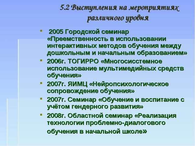 5.2 Выступления на мероприятиях различного уровня 2005 Городской семинар «Пре...