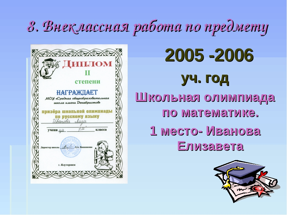 8. Внеклассная работа по предмету 2005 -2006 уч. год Школьная олимпиада по ма...