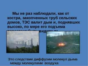Мы не раз наблюдали, как от костра, закопченных труб сельских домов, ТЭС вал