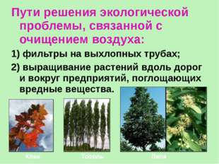 Пути решения экологической проблемы, связанной с очищением воздуха: 1) фильтр