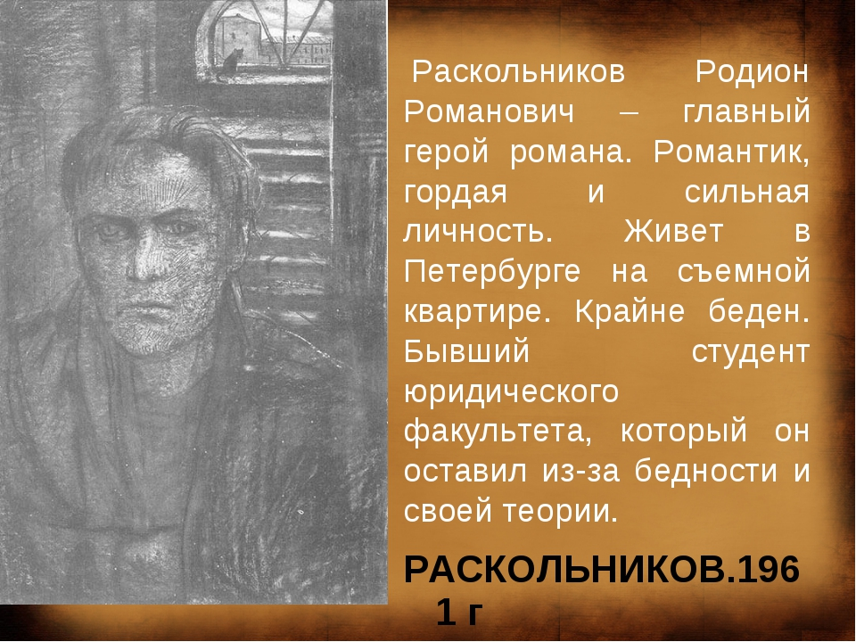 РАСКОЛЬНИКОВ.1961г Раскольников Родион Романович – главный герой романа. Ро...