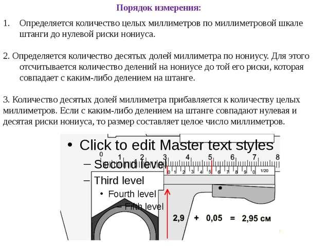 Порядок измерения: Определяется количество целых миллиметров по миллиметровой...