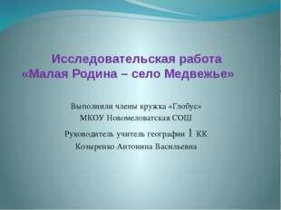 Исследовательская работа «Малая Родина – село Медвежье» Выполнили члены кружк