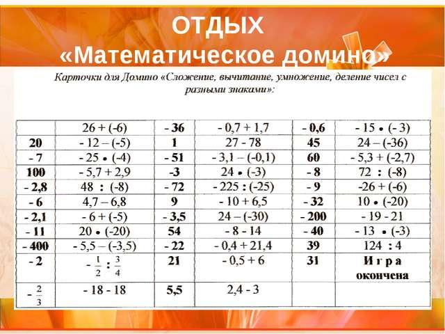 ОТДЫХ «Математическое домино»
