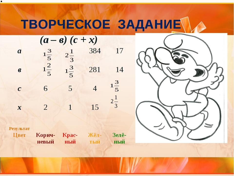 ТВОРЧЕСКОЕ ЗАДАНИЕ (а – в) (с + х) а 38417 в 28114 с 654 х 21...