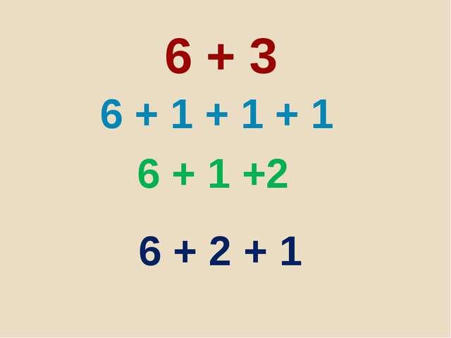 6 + 3 6 + 1 + 1 + 1 6 + 1 +2 6 + 2 + 1