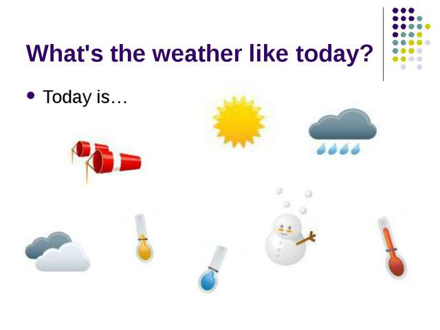 What's the weather like today? Today is…