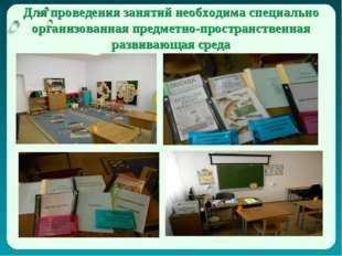 Для проведения занятий необходима специально организованная предметно-простра