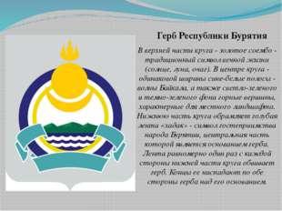 Герб Республики Бурятия В верхней части круга - золотое соембо - традиционный