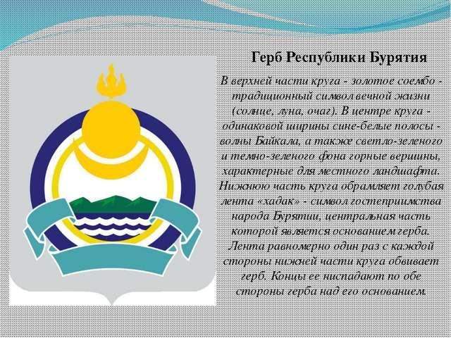 Герб Республики Бурятия В верхней части круга - золотое соембо - традиционный...