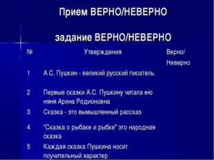 Прием ВЕРНО/НЕВЕРНО задание ВЕРНО/НЕВЕРНО №УтвержденияВерно/ Неверно 1А.С.