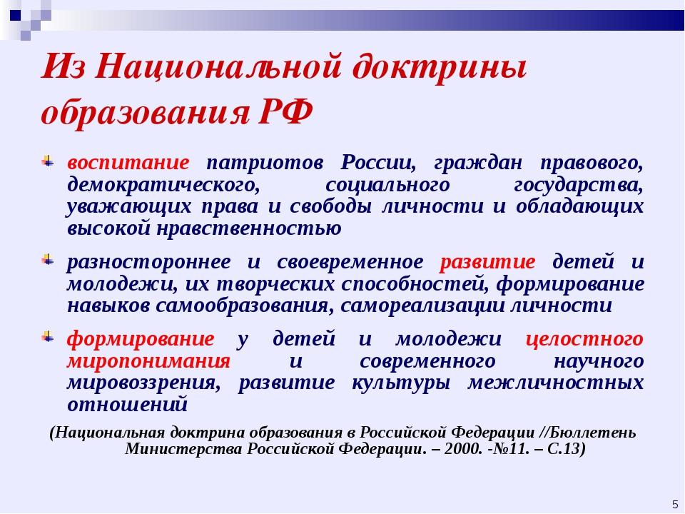 Из Национальной доктрины образования РФ воспитание патриотов России, граждан...