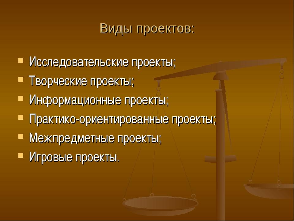 Виды проектов: Исследовательские проекты; Творческие проекты; Информационные...