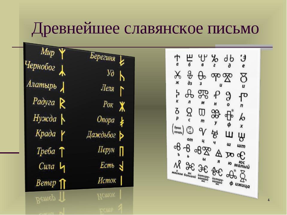 Древнейшее славянское письмо *