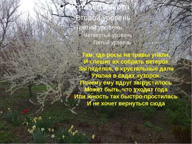 Там, где росы на травы упали. И спешит их собрать ветерок Загляделся, в хруст...