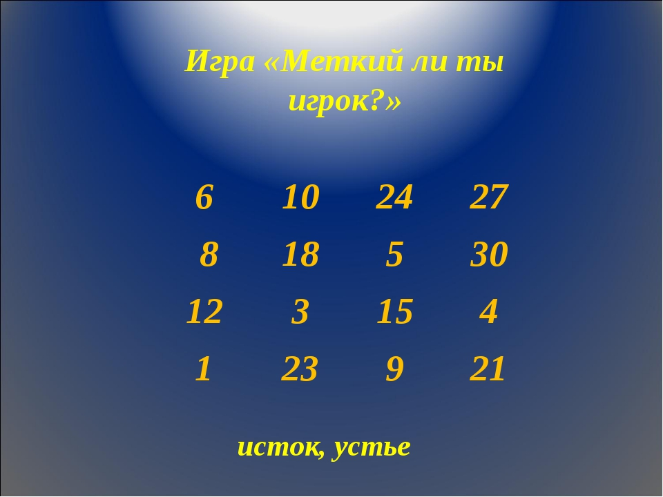 Игра «Меткий ли ты игрок?» исток, устье 6102427 818530 123154 1239...