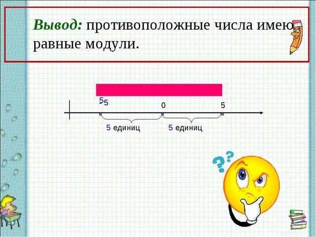Вывод: противоположные числа имеют равные модули. ││