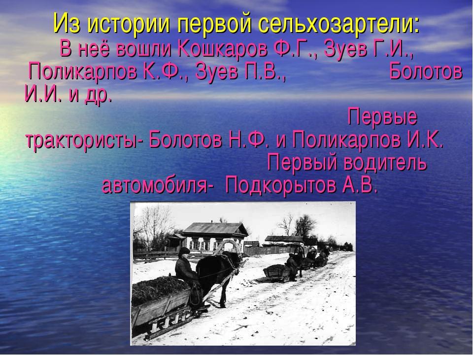 Из истории первой сельхозартели: В неё вошли Кошкаров Ф.Г., Зуев Г.И., Полика...